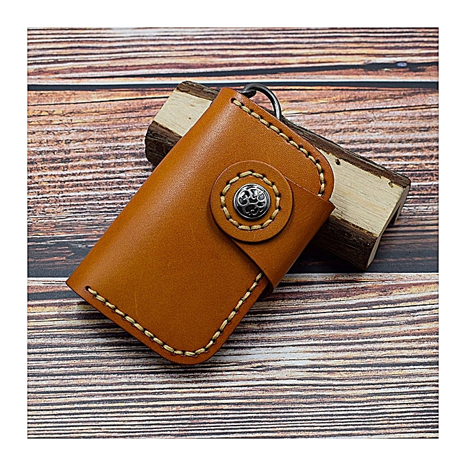 Fashion Men And femmes Genuine Leather Retro Car Key Holder Key Bag Keychain Wallet Card Holder à prix pas cher