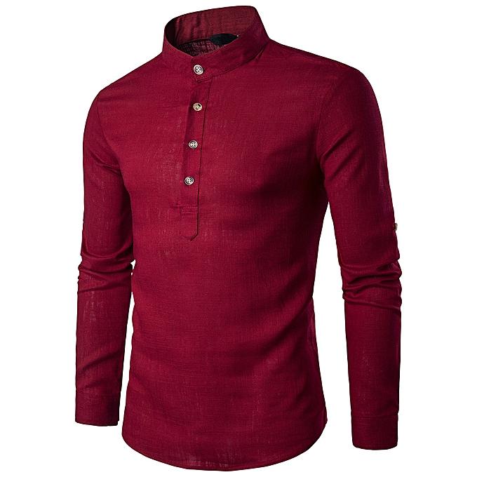 Fashion jiahsyc store  Men Stand Neck Long Sleeve Daily Look Linen Shirts Tops Blouse RD L à prix pas cher
