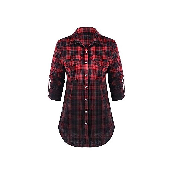 Generic HL Flap Pockets Ombre Plaid Shirt(M-2XL) (noir&rouge) à prix pas cher