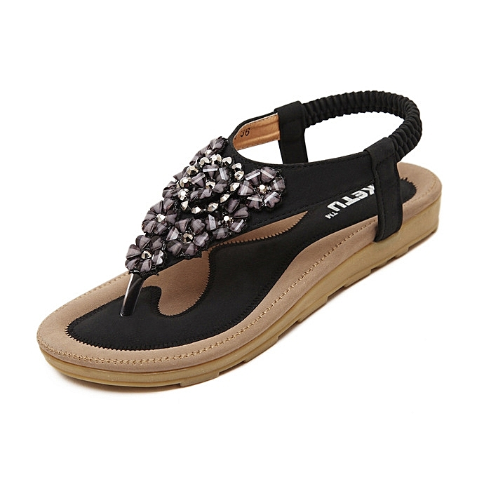 OEM nouveau arrivel grand Taille femmes Sandals Crystal chaussures été Décontracté plage Flat Sandals chaussures Female Crystal FFaibleers Sandals-noir à prix pas cher