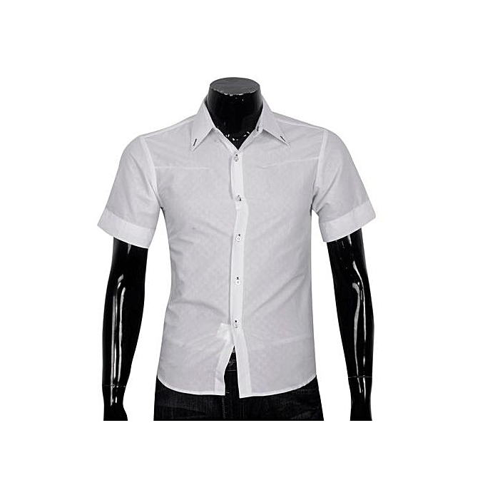 Neworldline Obscure Men's Plaid Short-sleeved Shirt Slim blanc M- blanc M à prix pas cher