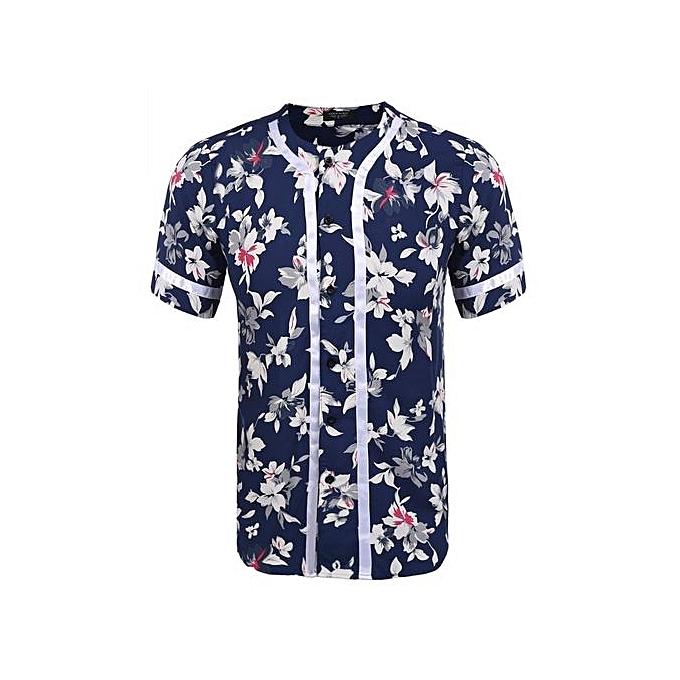 Sunshine Mens Casual Short Sleeve V Neck Loose Contrast Couleur Open Stitch Solid Aloha Shirt-Couleur 1 à prix pas cher