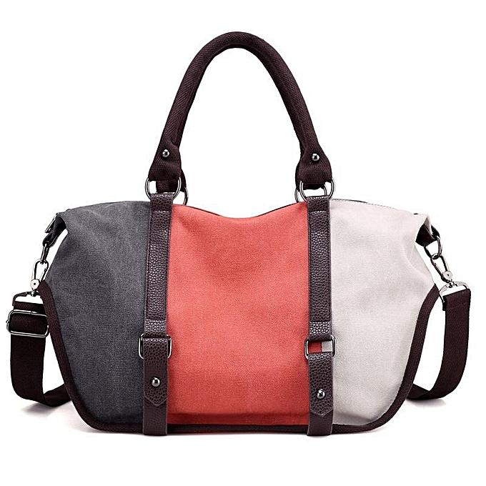 Fashion femmes Quality Canvas Casual Couleur Block Large Capacity Handbag Shoulder Bag Crossbody Bag  gris and Orange and blanc à prix pas cher