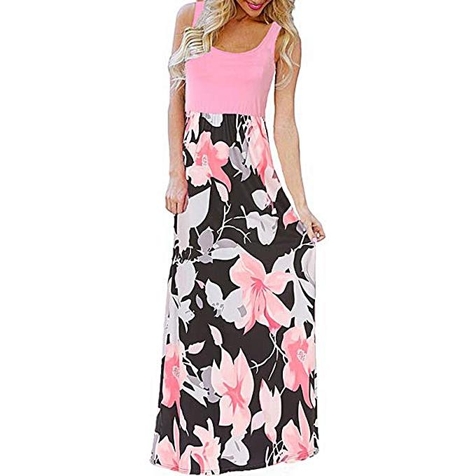 mode femmes& 039;s été Boho Sleeveless Floral Print Tank Sundrss plage Long Maxi Robe à prix pas cher