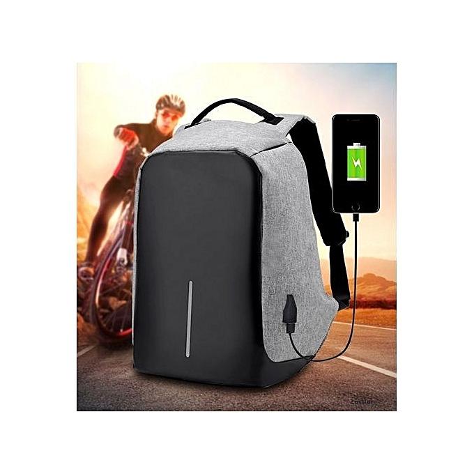 Generic Business Sac à Dos avec Port de Chargement USB Antivol pour Ordinateur Portable Sacs d'Affaire pour pc Portable - gris à prix pas cher