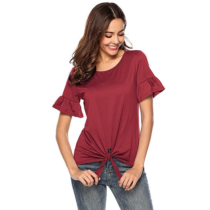 mode meibaol store femmes Décontracté O-neckline chemisier courte papillon Sleeve Fold Shirt Bow knot hauts à prix pas cher