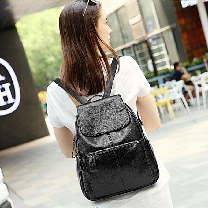 mode femmes Cowhide cuir sac à dos voyage Girls School Leisure Shoulder sac Satchel noir à prix pas cher