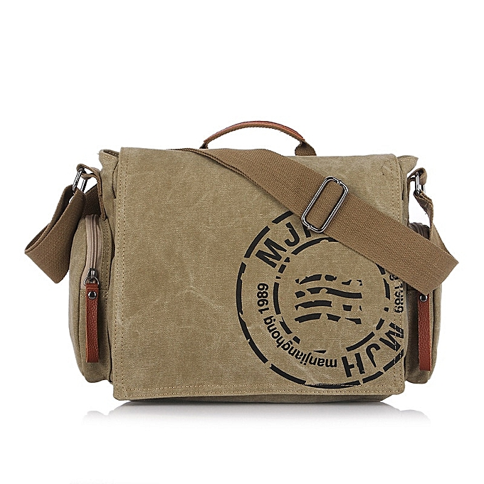 Other Men Handbag Cotton Canvas Bag Version of Casual Fashion Shoulder Bags Messenger Bag Men(khaki) à prix pas cher