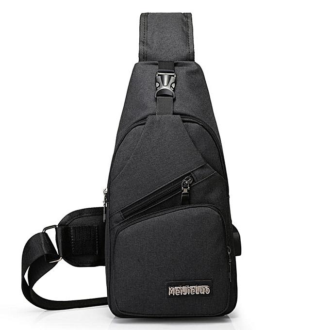 Other PinShang Hommes USB Charging Sports toile de plein air Oblique Cross Single Shoulder sac(noir) à prix pas cher