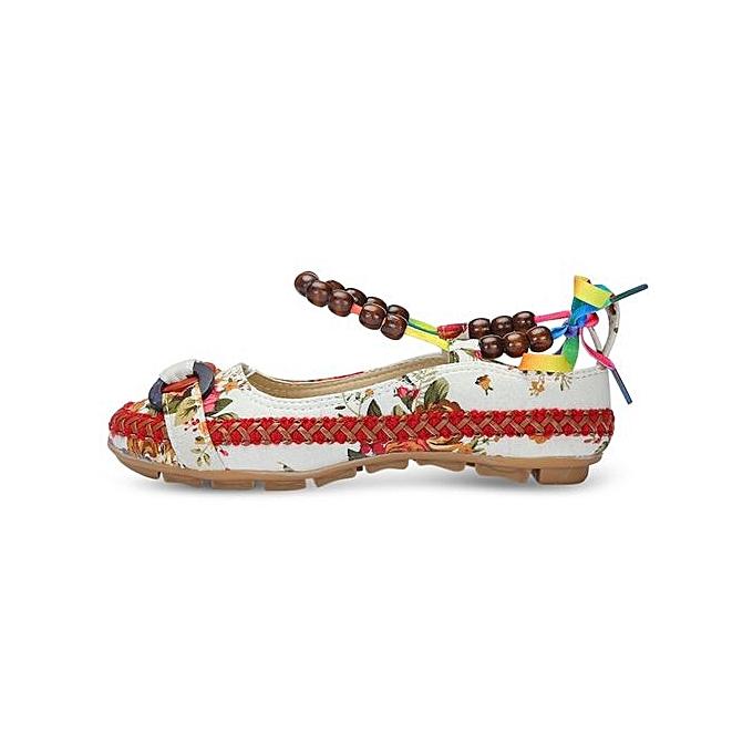 Fashion Round Toe Ankle Strap Strap Strap Floral Print Flat Heel WoHommes  Shoes-WHITE à prix pas cher  | Jumia Maroc dab64b