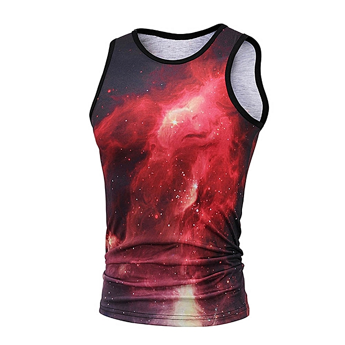 mode Jummoon Shop Personality Pour des hommes 3D Print Starry Sky Décontracté Slim courte-sleeved Shirt Top chemisier à prix pas cher