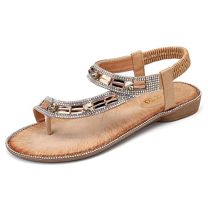 Fashion Bohemian femmes Rhinestone Flat Sandals Flip Flop chaussures à prix pas cher