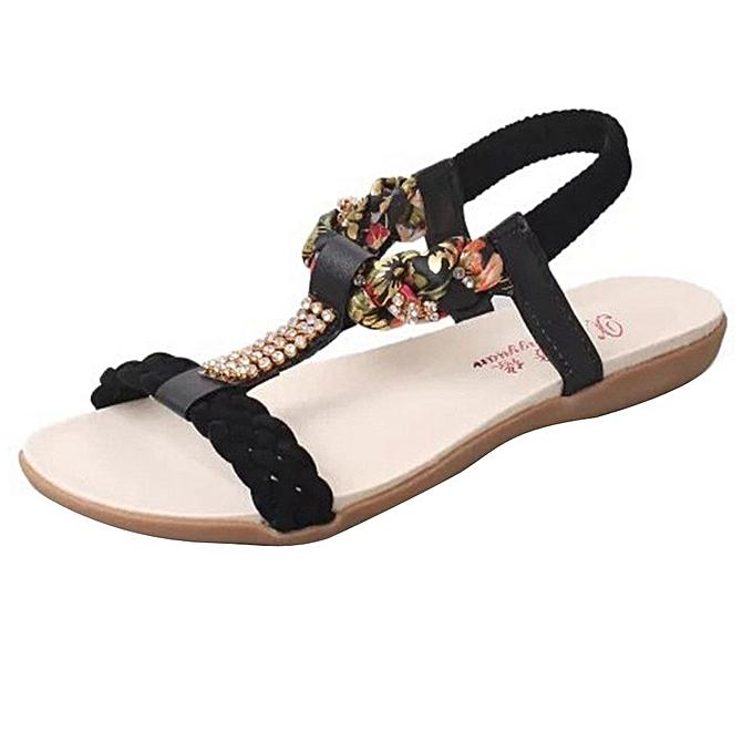 Neworldline femmes Sandals Elastic Strap chaussures Casual chaussures Sandals Comfort Sandal-noir à prix pas cher