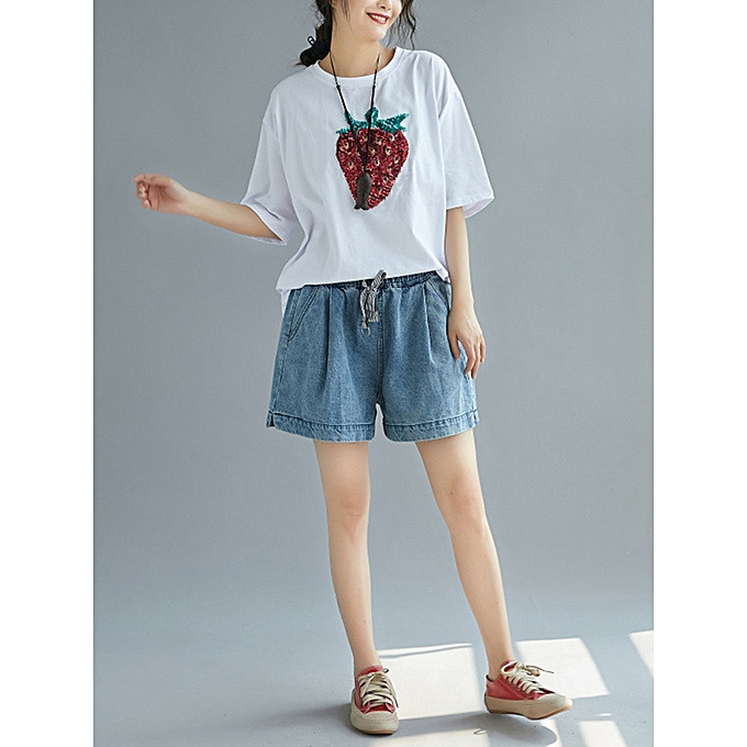 Fashion Loose Cotton Half Sleeve Strawberry T-shirts à prix pas cher