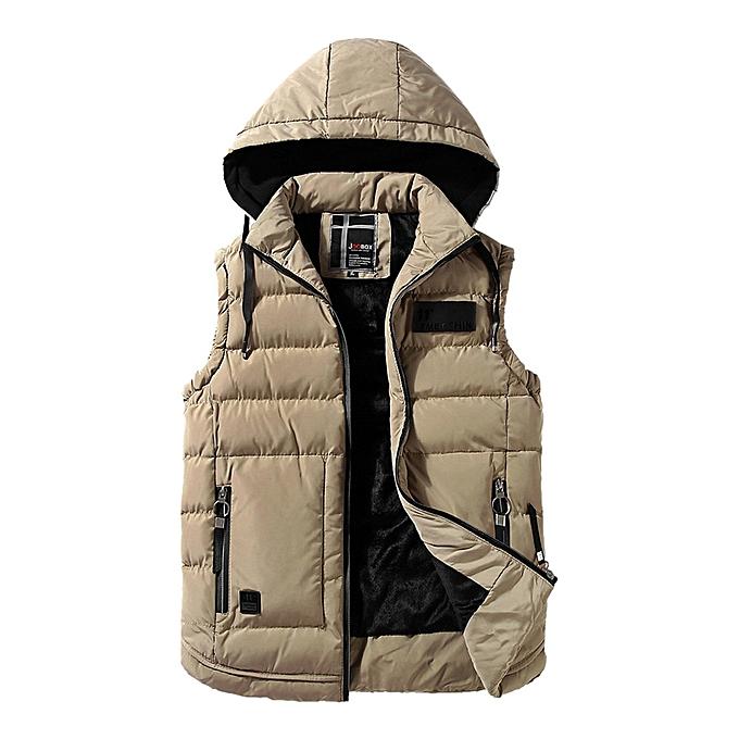 Fashion Men's Autumn Winter Coat Padded Cotton Vest Warm Hooded Thick Vest  Jacket Top  -Khaki à prix pas cher