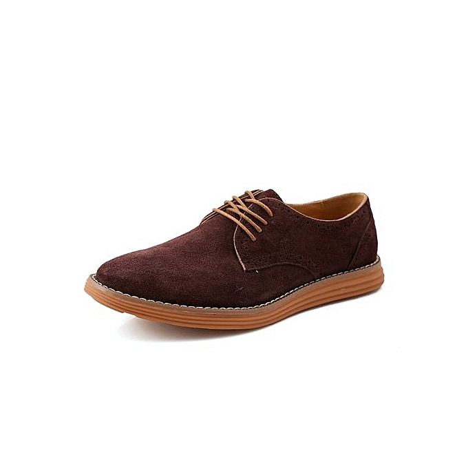 Fashion   Fashion 's Plus Size Suede Leather Casual Shoes UK Size : 6.5 To 10.5  -Dark Brown à prix pas cher  | Jumia Maroc c64103
