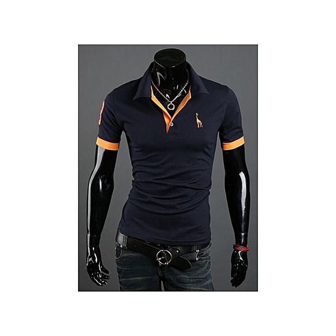 Generic T-shirt Hommes& 039;s courte-sleeved shirt popular mode pop polo shirt-navy à prix pas cher