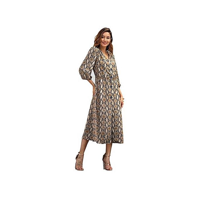 AFankara Beige Elegant femmes Gown Mid-calf Print Dresses à prix pas cher