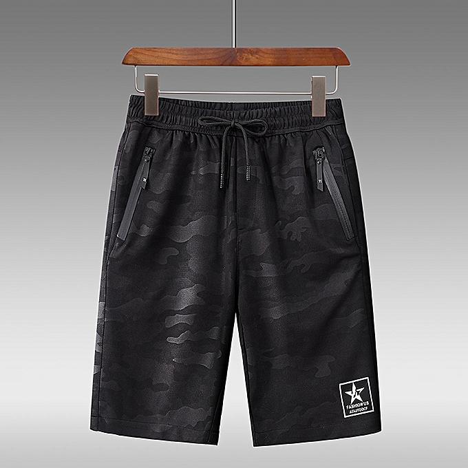 Fashion Men's Fashion Summer Casual Camouflage Pocket Drawstring Cotton Short Pants à prix pas cher