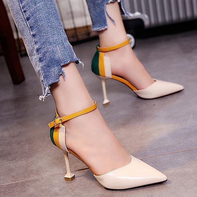 Generic Sedectres Wohommes mode Thin talons chaussures Patchwork Ankle Strap talons hauts chaussures-Beige à prix pas cher
