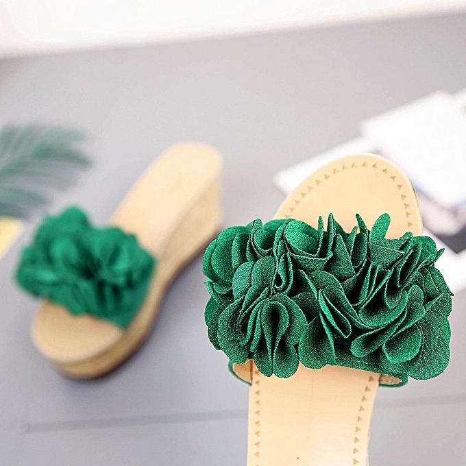 Générique Tcetoctre Summer Floral Waterproof Platform Waterproof Floral WoHommes  Sandals Wedge Sandals Slippers Shoes-Green à prix pas cher  | Jumia Maroc 69b5e9