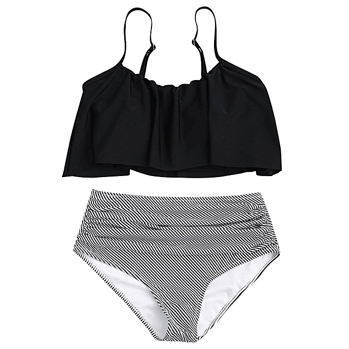 Generic HL Plus Taille High Waisted rayé Bikini Set (noir) (4XL, 3XL) à prix pas cher