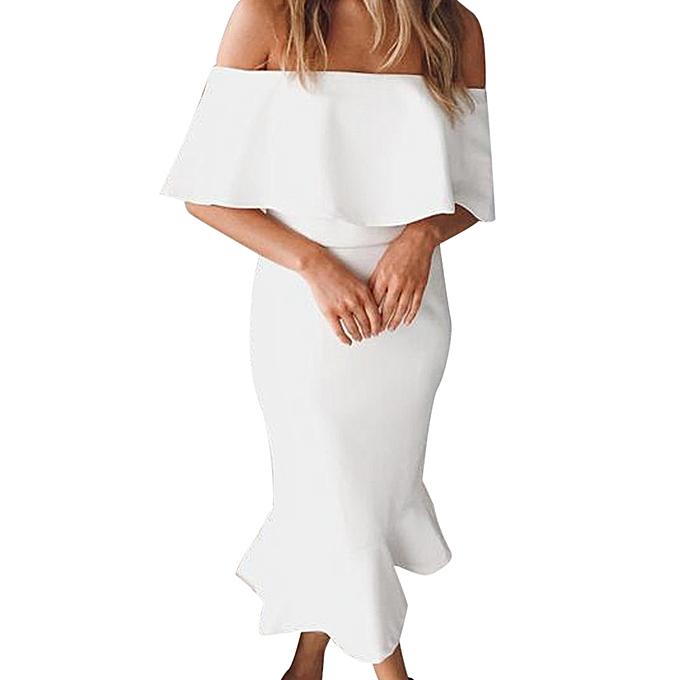 Fashion femmes Summer Off The Shoulder Evening Party Bodycon Maxi Dress à prix pas cher