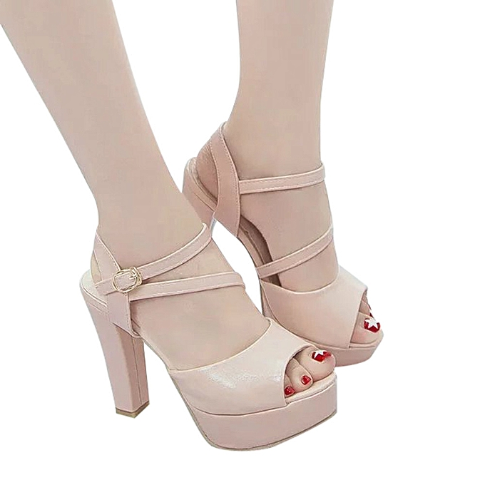Fashion femmes Solid Peep Toe Hollow Out Thin Heels Sandals High Heeled chaussures Dark rose - à prix pas cher