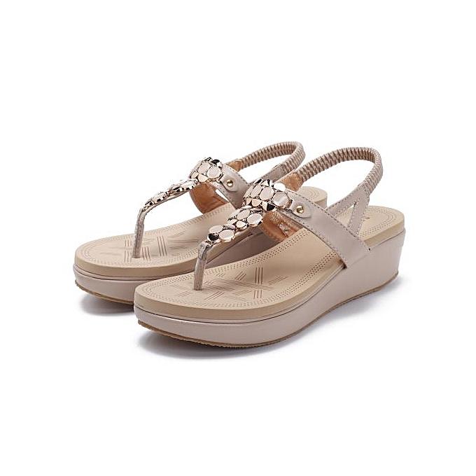 Fashion Fashion femmes Rhinestone Clip Toe Wedges Platform Beach Pu Leather Sandals à prix pas cher    Jumia Maroc
