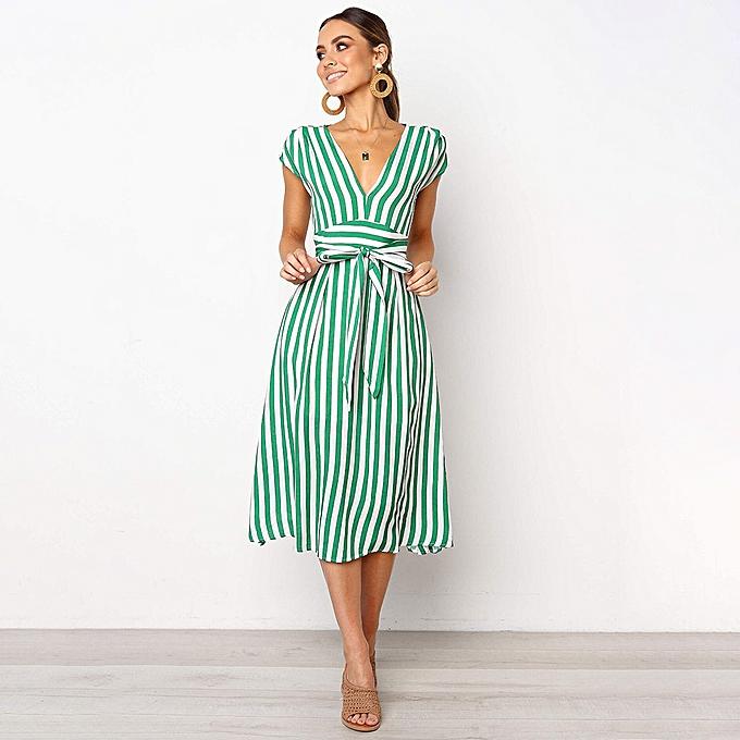 Fashion femmes Casual Stripe Printing Off Shoulder Sleeveless Dress Princess Dress à prix pas cher