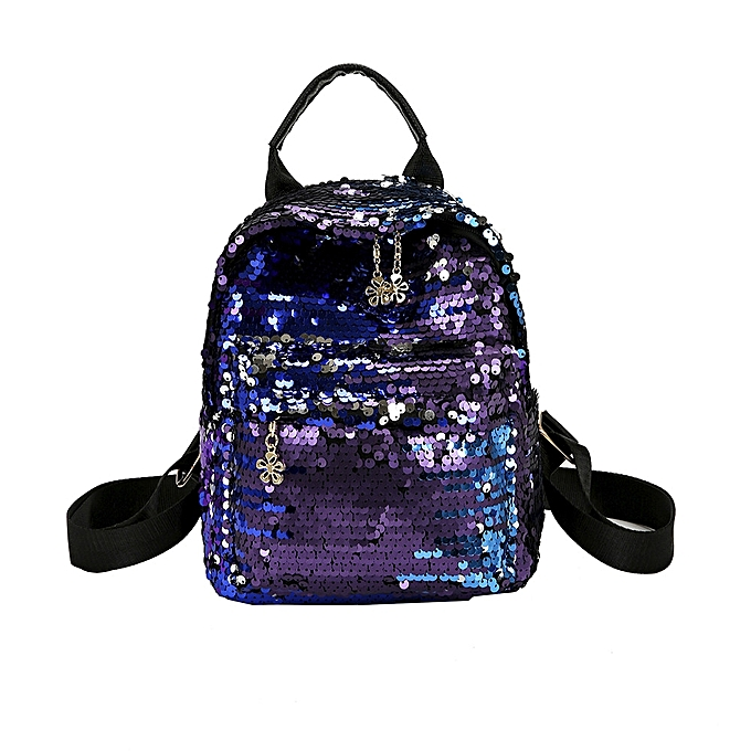 Fashion blicool travel wallet Wohommes Shinning Glitter Bling Backpack Preppy Style Sequins Travel Satchel-bleu à prix pas cher