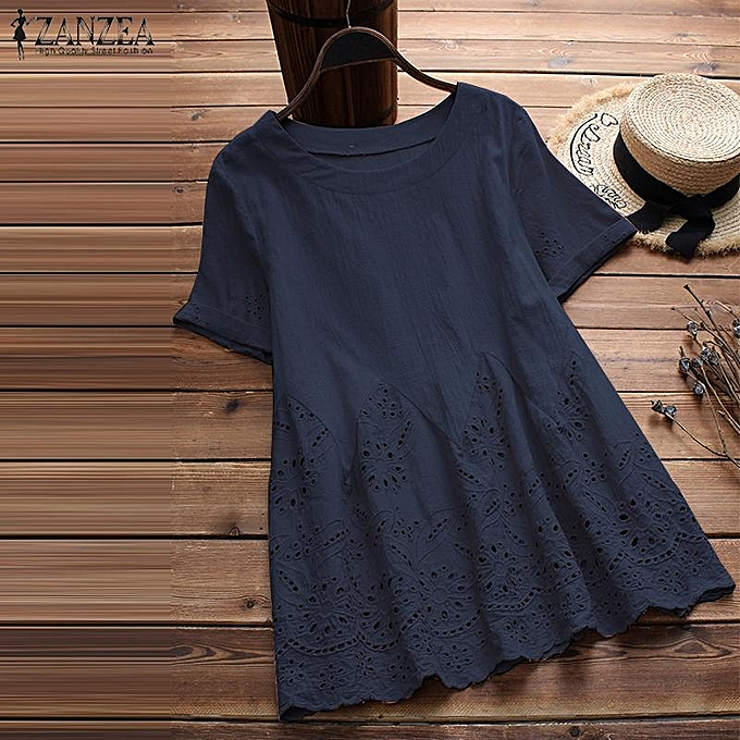 Zanzea ZANZEA femmes& 039;s Cotton Round Neck été T-Shirt hauts Floral HolFaible Out chemisier Shirt Tee à prix pas cher
