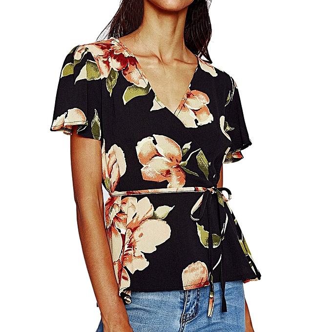 Generic Generic Wohommes Casual Print V Neck Short Sleeve Shirt Blouse Top A1 à prix pas cher