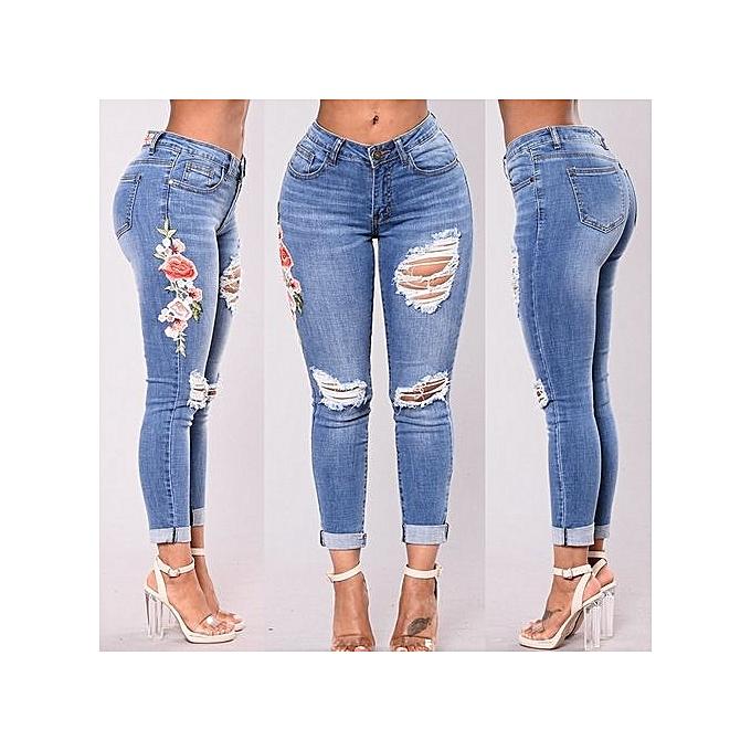 Generic New Style Elasticity Embroiderouge Denim Waist Pants Female Casual Pocket Skinny Pencil Jean Fashion  Pants Jeans femmes Trousers-light bleu à prix pas cher