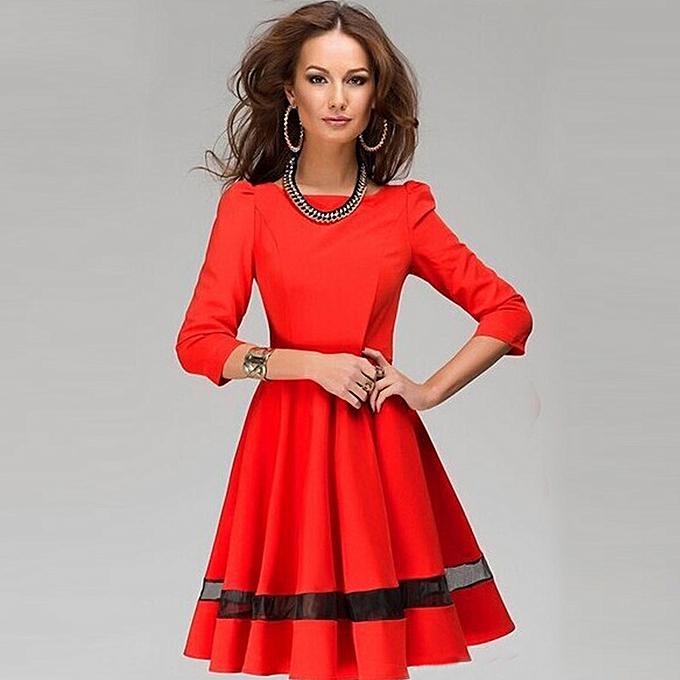 Fashion TCE femmes Ladies Solid Couleur Round Neck Long Sleeve Pleated Dress RD M à prix pas cher