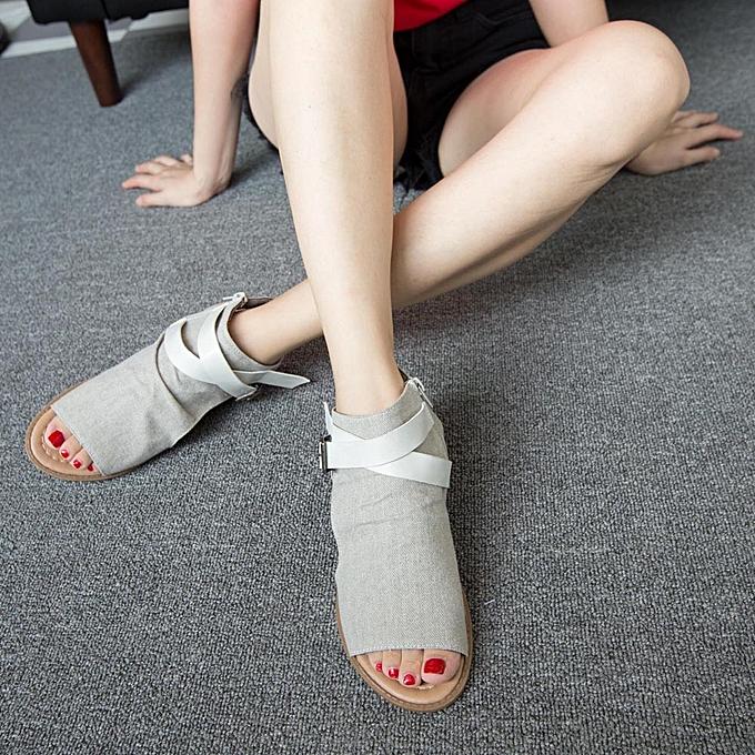 Fashion Blicool Shop femmes Sandals femmes Fish Mouth chaussures Sandals Flat Heel Solid Ankle Strap Slipper Sandals BG -Beige à prix pas cher    Jumia Maroc