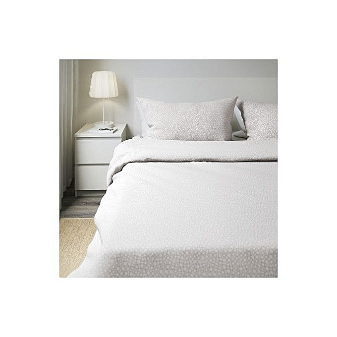commandez ikea housse de couette et 2 taies d 39 oreiller gris 240x220 50x60 cm prix pas cher. Black Bedroom Furniture Sets. Home Design Ideas