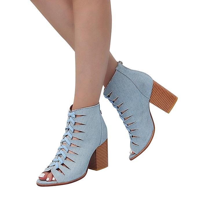 Générique Sedectres WoHommes    Autumn Denim Fish Mouth Hollow Hollow Mouth Out Martin Short Boots Single Shoes-Blue à prix pas cher  | Jumia Maroc e6fc13