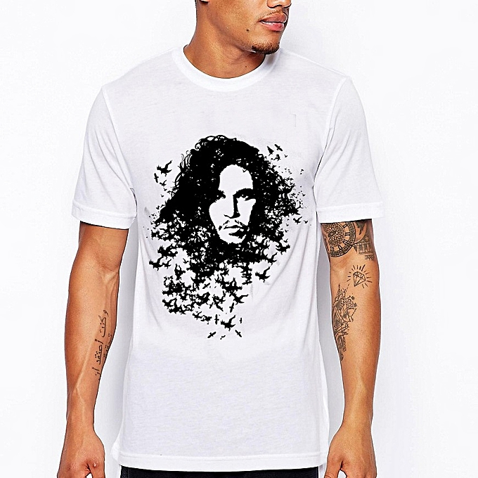 Other Summer Huhomme Head Printed Men's Short Sleeve blanc T Shirt à prix pas cher