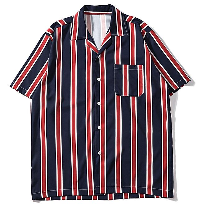 mode whiskyky store Pour des hommes été mode Shirts Décontracté manche courte rayé hauts Loose Décontracté chemisier à prix pas cher