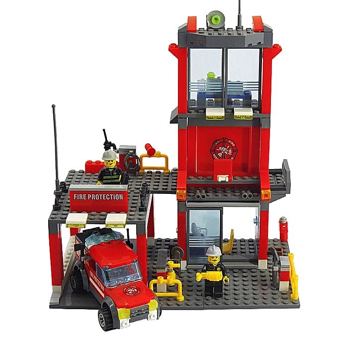 UNIVERSAL 8052 300 PCS Brick Blocks City Fire DepartHommest Engine Building Blocks Model Sets Fire Alarm Educational Toys, Age Range  6 Years Old Above à prix pas cher
