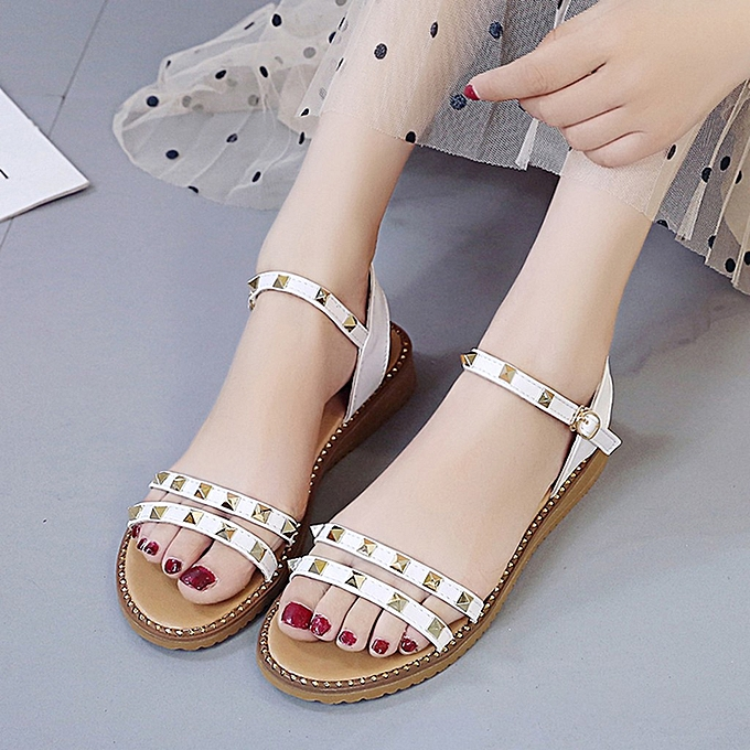 Fashion jiahsyc store femmes's Fashion Girls Summer Rivet Beach Open Toe Flat Sandals Buckle chaussures à prix pas cher