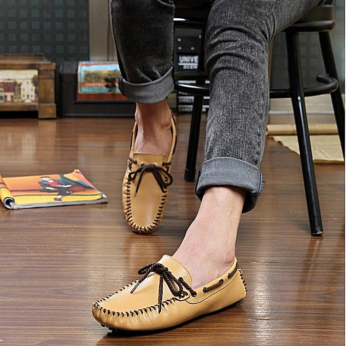 Fashion Genuine Leather  's Casual Slip On On Slip Loafer Shoes Moccasins Driving Shoes YELLOW-EU à prix pas cher    Jumia Maroc c46a03