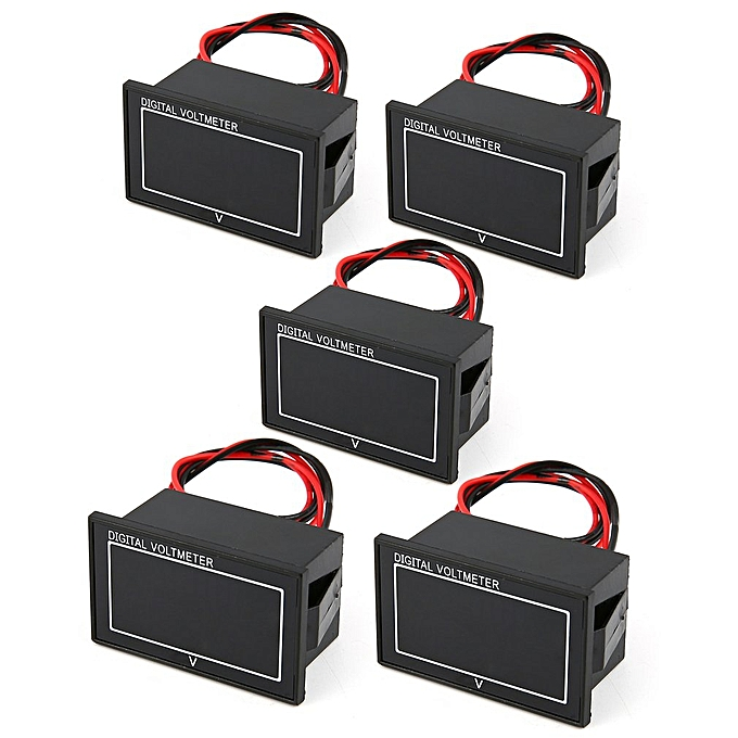 Allwin 5PCS 5V-70V Panneau d'affichage numérique étanche tension voltmètre noir Meterrouge à prix pas cher