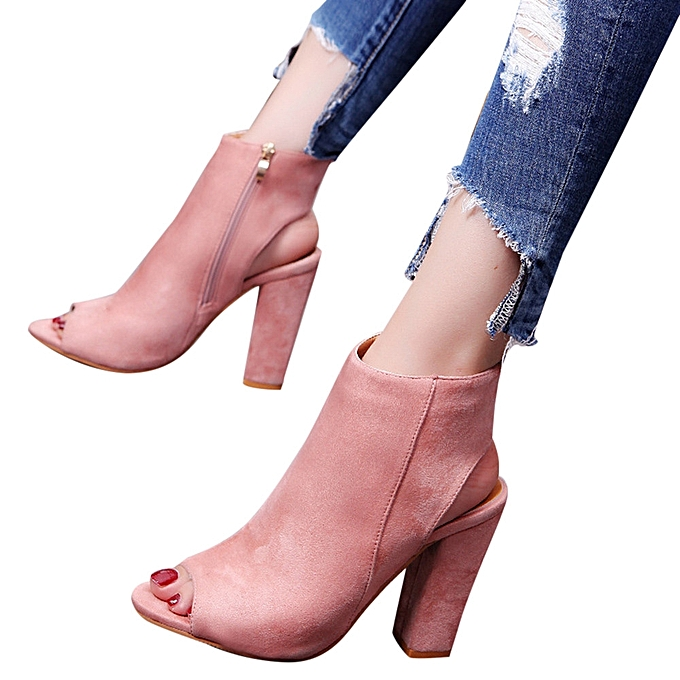 Generic Tcetoctre femmes mode Suede  Solid Couleur Peep Toe Wedges High Heeled chaussures Sandals rose-rose à prix pas cher