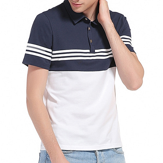 Fashion Summer Leisure Cotton Turn-down Collar Stripe Tops Large Taille Comfy Loose T-shirts for Men à prix pas cher