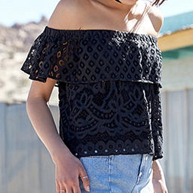 Generic Generic mode femmes Décontracté Tank Top chemisier Off The Shoulder Lace Top T-Shirt A1 à prix pas cher