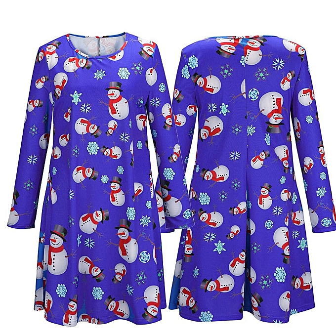 Fashion Fashion femmes O-Neck Long Sleeve Christmas Santa Casual Printed Bodycon Dress à prix pas cher