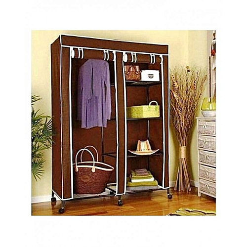t deco armoire penderie pliable en tissu de rangement transportable marron au maroc pas cher. Black Bedroom Furniture Sets. Home Design Ideas