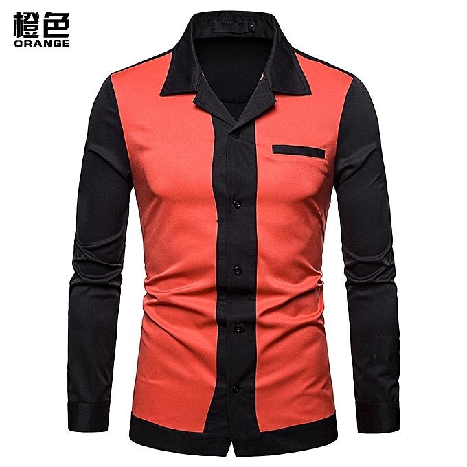 OEM Hot sale Hot Sales  Men Shirt Men's Splice Turn-Down Collar Shirt Casual Slim Fit Male Shirts Fashion Men's Long Sleeve Shirts - Orange à prix pas cher